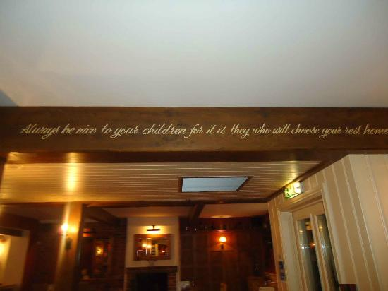 The Walnut Tree Inn: the quote within the restaurant