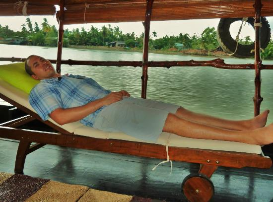 Mango Cruises: my husband relaxing at the end of the tour