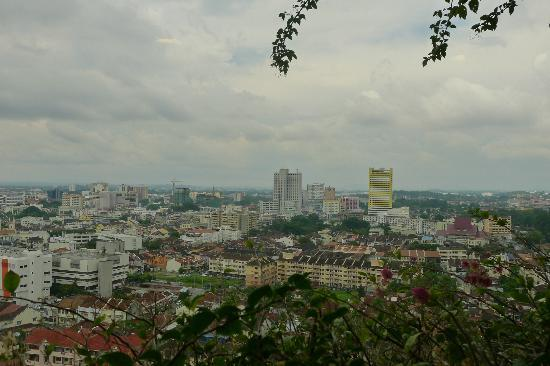 Hotel Equatorial Melaka: View from the elevator lobby to the Hang Tuah Rd. and Renaissance-Emperor high-rise cluster