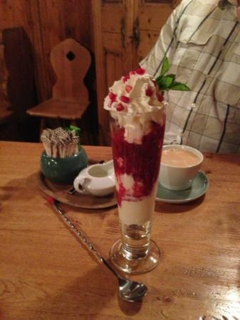 The Old Bauernhaus: Dessert - Hot Love (homemade vanilla bean ice cream, raspberries, pomegranate seeds and whipped