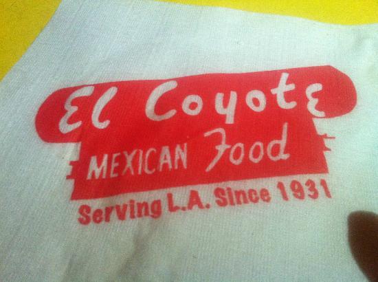 El Coyote : Bar Napkin