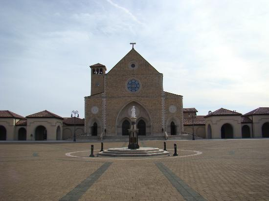 Shrine of the Most Blessed Sacrament: A view of the Shrine from the Plaza showing the Statue of the Child Jesus