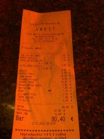 Amrit Restaurant | Berlin Schöneberg: Total price for 4 people with drinks