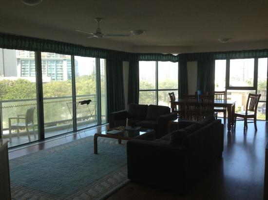 Mantra Sun City: Living area - one bedroom apartment