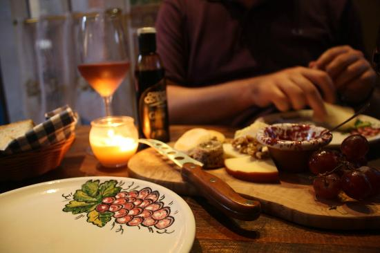 Tomabnina Wine Room: local cheese board and rose