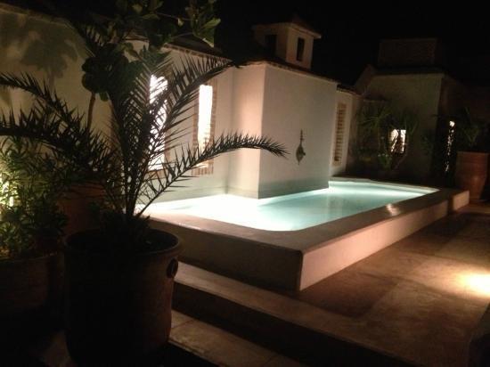 Riad Camilia: bassin terrasse de nuit
