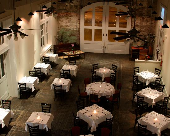Dijon: Main dining room is housed in an historic firehouse with 35 ft ceilings!