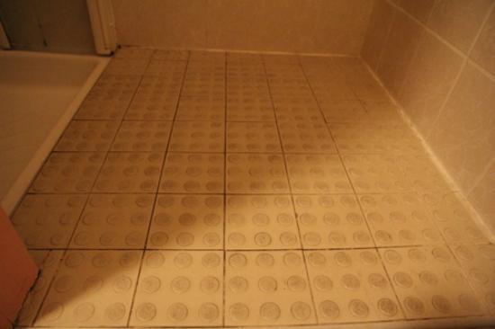 Hotel Le Maray: bathroom floor, the grout was originally white
