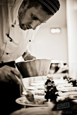 The New Ship Restaurant: The Chef prepares his dish full of intent