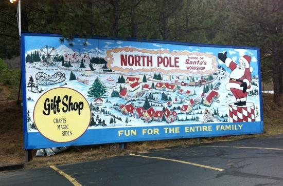North Pole - Santa's Workshop: parking lot sign
