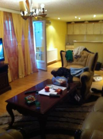 Hotel Begolli: 5A- living area & kitchen from door