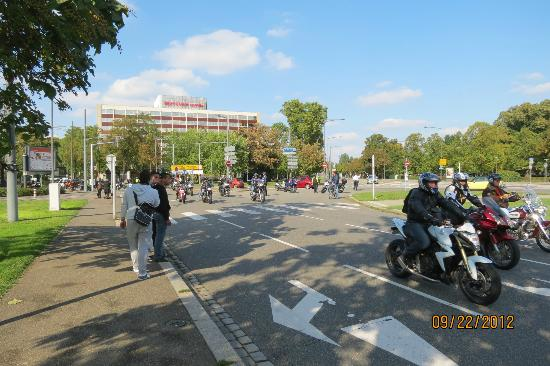 Hilton Strasbourg: Walking from the hotel to tram station--there was a big biker parade going on