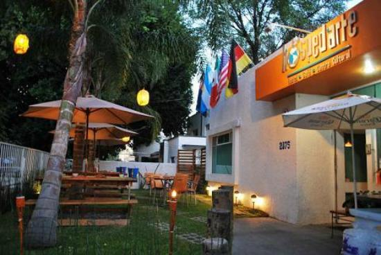 Hostel Guadalajara Hospedarte: Building Exterior & The Biergarten (The bar for guests & locals)