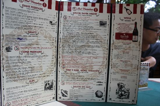 Pod Wawelem Restaurant Menu