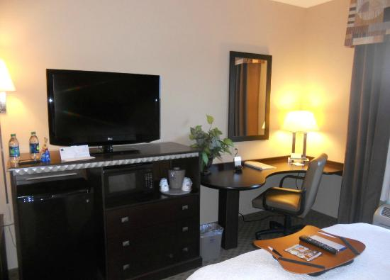 Hampton Inn & Suites Air Force Academy : TV and Desk with free Internet