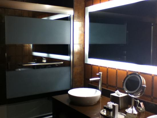 Golden Nugget Hotel: Shower & vanity.