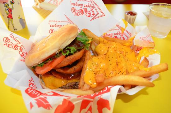 Teddy's Bigger Burgers: Volcano Burger with Cheese Fries