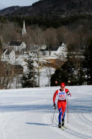 Grafton Trails & Outdoor Center: Skiing with historic Grafton, Vermont in the background