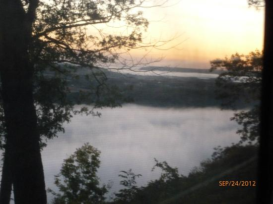 Wyalusing State Park: Sunrise taken through camper window...fog over WI River