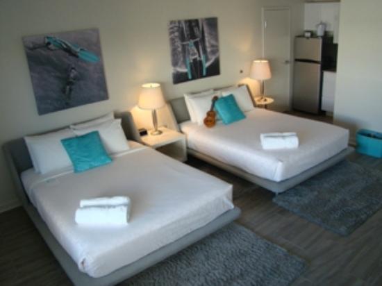 Room 1203 Bedroom and Kitchen - The Aqua Hotel