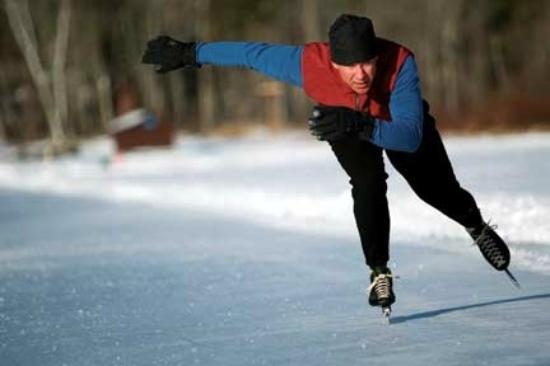 Speed skater on Lake Morey, Fairlee Vermont