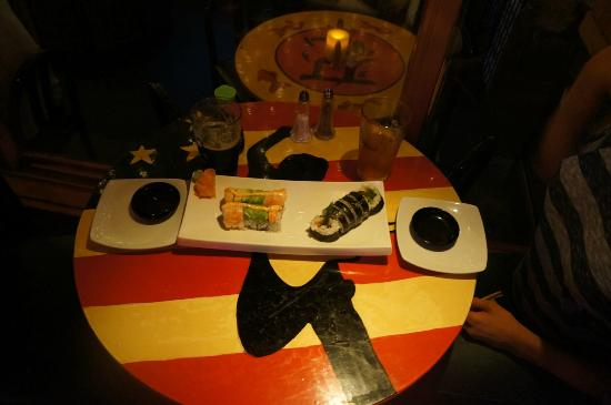 Matterhorn Restaurant: Yummy sushi on a table with The Boss