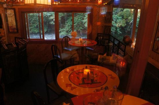 Matterhorn Restaurant: Back view with drop down addition next to a brook