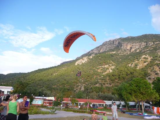 Club Belcekiz Beach Hotel: Paraglider landing outside the hotel
