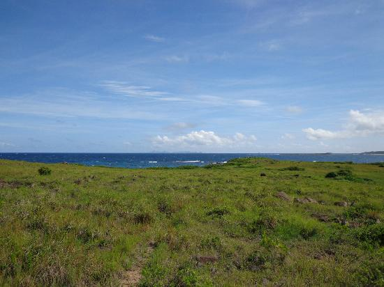 Pinel Island: View to east on hike to back of Pinel
