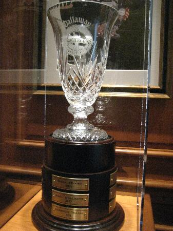 Monterey Movie Tours: The Crystal Pebble Beach Golf Trophy - in the club house.
