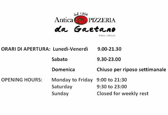 Pizzeria da Gaetano : Orari di lavoro