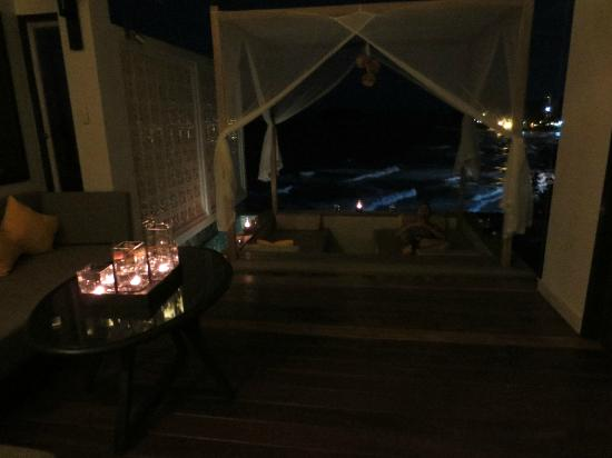 The Shore at Katathani: Sunken lounge and balcony all candle lit when got home