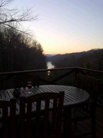 Lakeview at Fontana: Deck overlooking Fontana Lake at dusk.