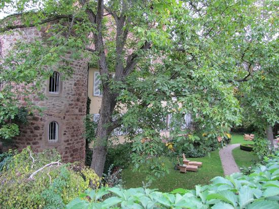 Hotel A la Cour d'Alsace: Back of hotel with old tower