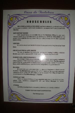 Casa De Tacloban : rules