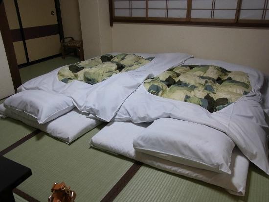 Oyado Yamakyu: futon prepared by the time we finished dinner