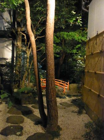 Oyado Yamakyu: almost hidden in the back though facing aisle from within - tiny JP garden