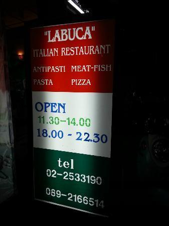 La Buca: LaBuca SignBoard at Entrance