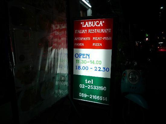 La Buca: Signage of LaBuca