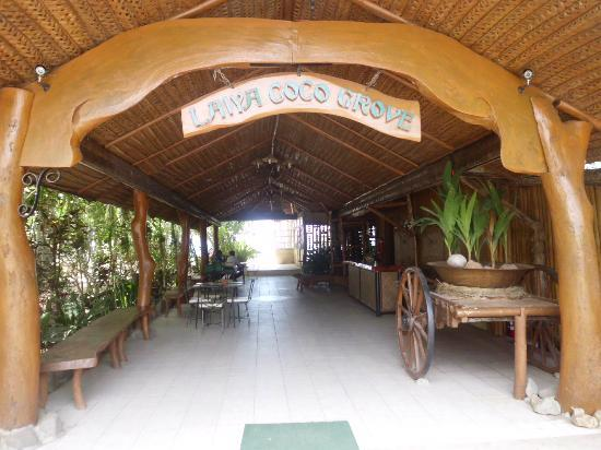 Laiya Coco Grove Resort: The entrance to the main building where the admin office and the dining area are