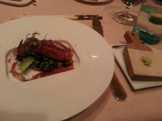 Victoria & Albert's: Sake-Soy Marinated Alaskan King Salmon with Bok Choy and Soy Beans