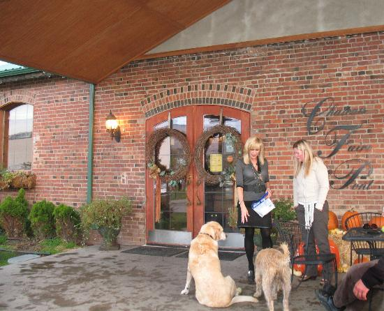 Chateau Faire le Pont Winery: The owner with her two vineyard dogs