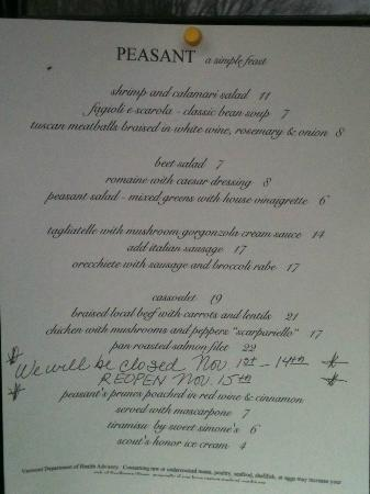 Peasant: Fall Menu 2012