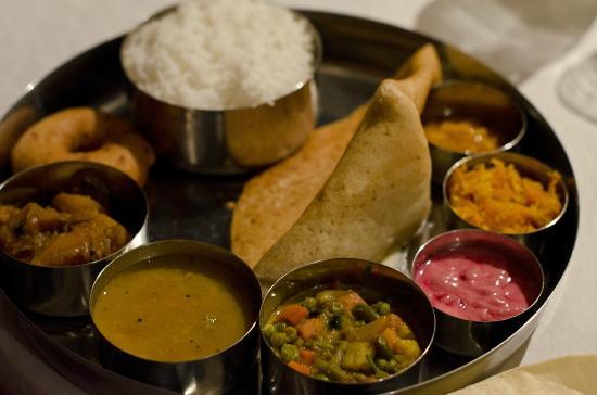 Kerala Cafe: Vegetarian Thali - ours were made wheat-free too