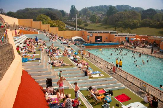 Sunbathing on the terraces picture of portishead open - Open air swimming pool portishead ...