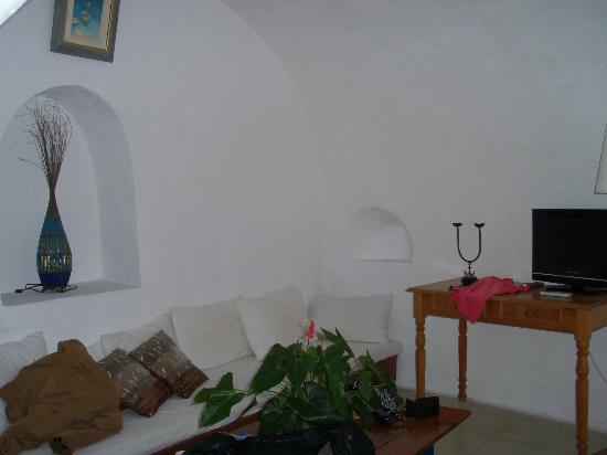 Living room, Antithesis Hotel, Fira, Santorini