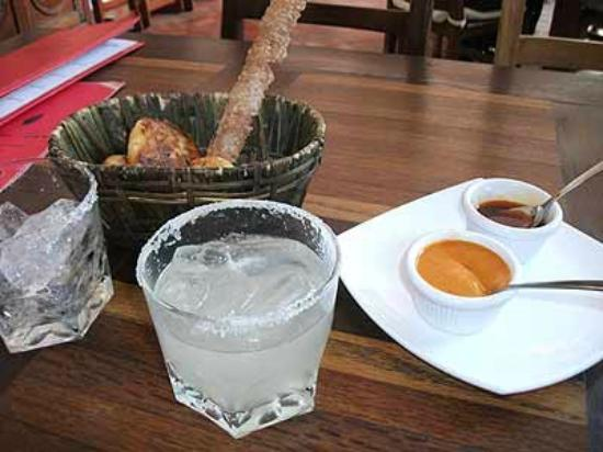 Real San Pedro: Started off with a great margarita and artisan bread in a handmade basket. Great hot sauces!