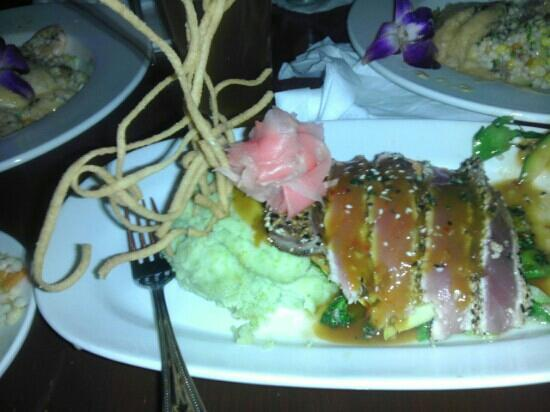 Funky Fish: pan seared sesame seed ahi tuna and wasabi mash