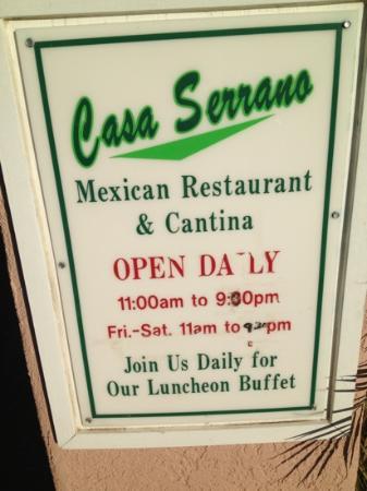 Casa Serrano Mohave Valley: Hours