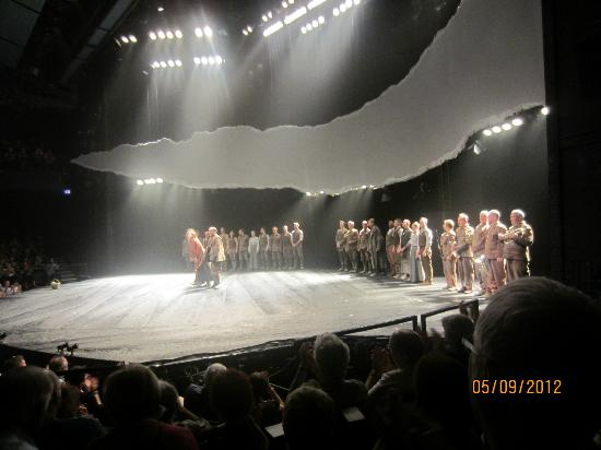 War Horse: The stage as actors take a bow at end of 'Warhorse""